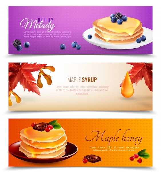 Maple syrup banners set Free Vector