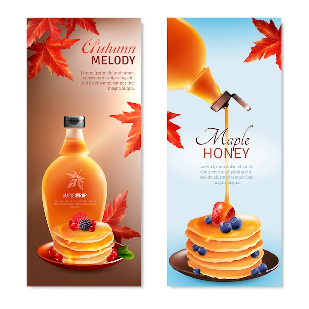 Maple syrup vertical banners set Free Vector
