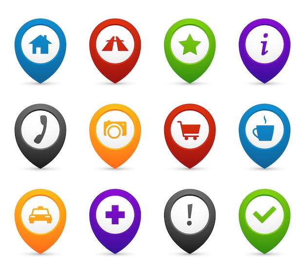 Mapping push pins with location icons Premium Vector