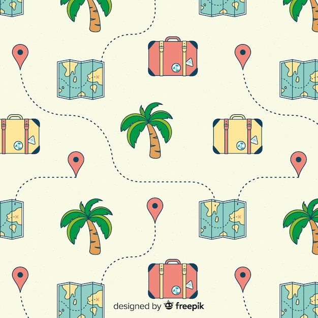 maps and suitcases background free vector