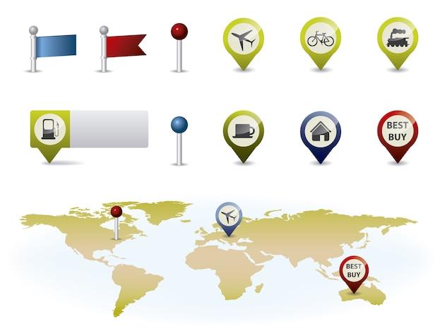 Raccolta di elementi di mappe Vettore gratuito