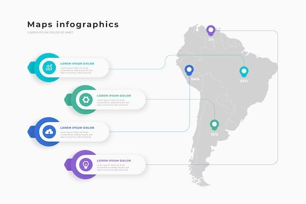 Mappe infografiche in design piatto Vettore gratuito