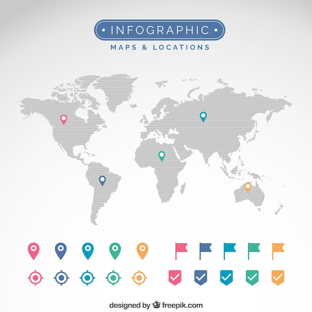 Maps and locations infographic Free Vector