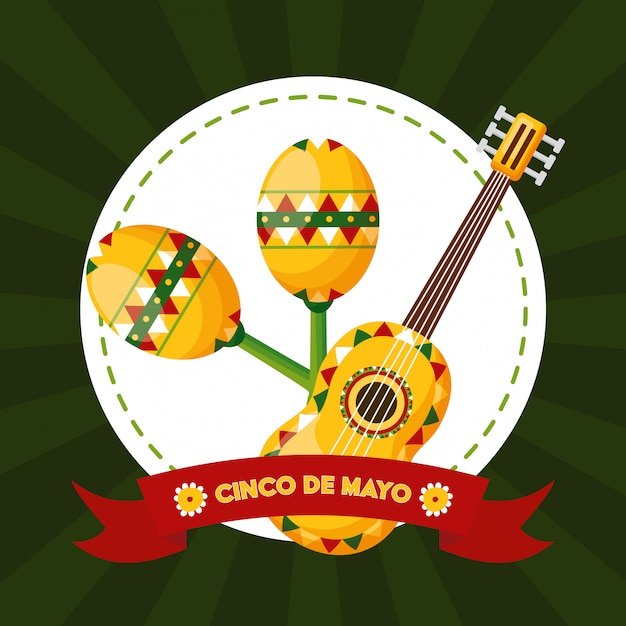 Маракас и гитара, синко де майо, мексика иллюстрация Бесплатные векторы