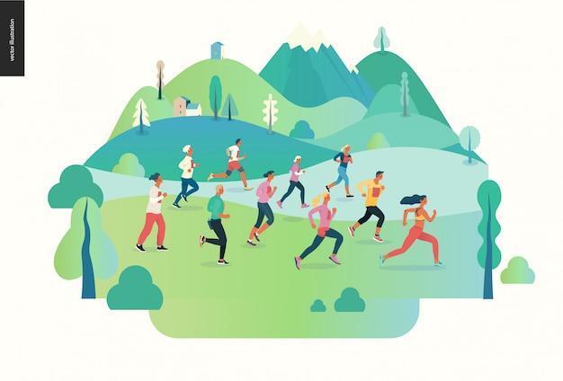 Marathon race group Premium Vector