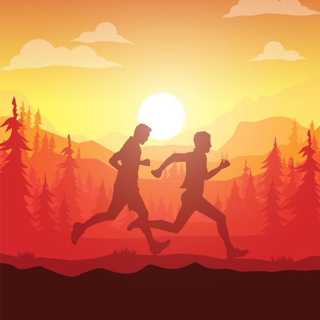 Силуэты марафонцев. Premium векторы