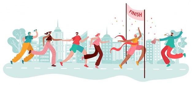 Марафонцы, победитель спорта на финише, гонки атлетов, соревнования по пробежке в городе и запуск карикатуры иллюстрации. Premium векторы