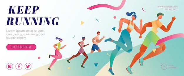 Marathon running banner Premium Vector