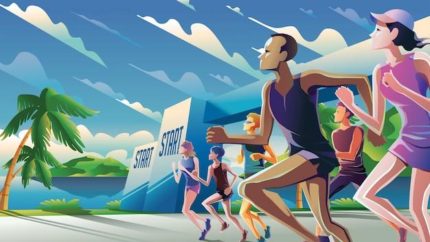 Marathon running theme art Premium Vector