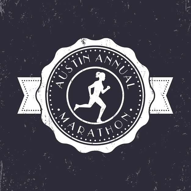 Marathon vintage emblem, badge, round marathon logo, marathon sign with running girl,   illustration Premium Vector