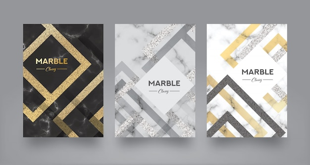 Marble abstract book cover design template Premium Vector