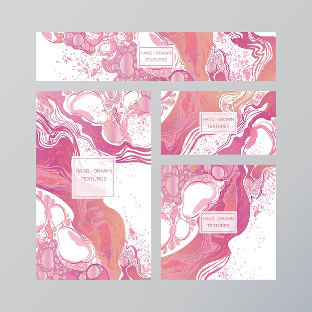 Marble abstract business card Premium Vector