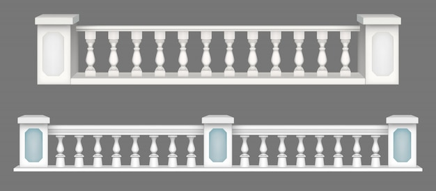 Marble balustrade, balcony railing or handrails. Free Vector