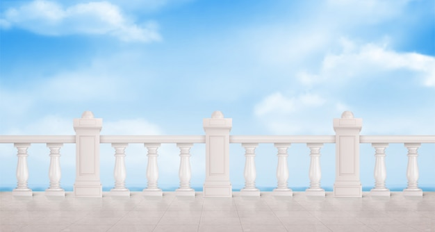 Marble balustrade with blue cloudy sky Free Vector