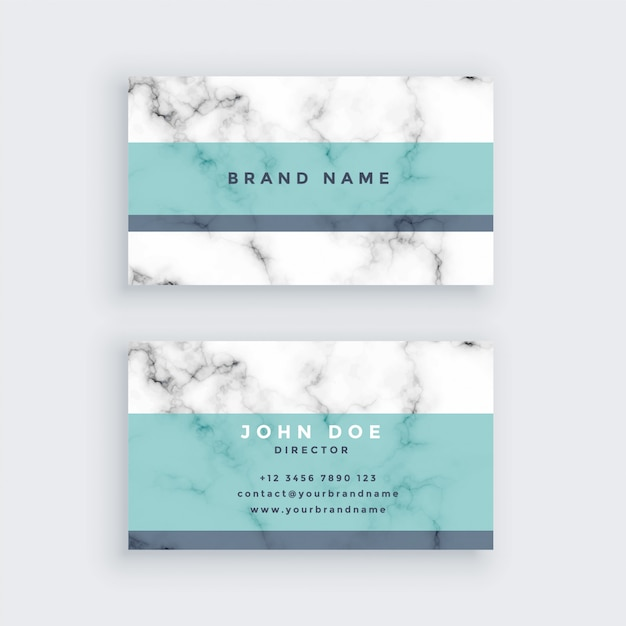 Marble business card design with pastel color Free Vector