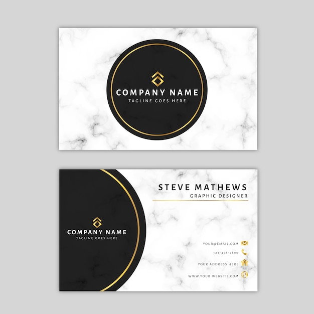 Marble business card template Premium Vector