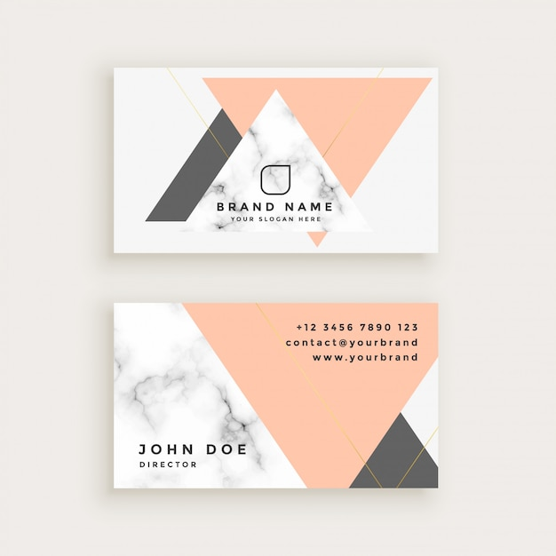 Marble business card with triangle shapes in pastel colors Free Vector