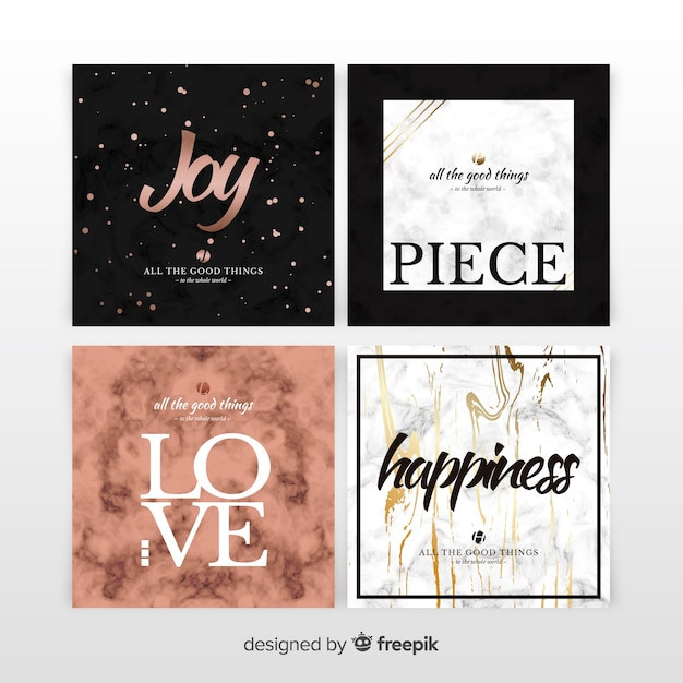 Marble card set Free Vector