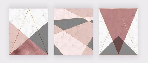 ピンクとグレーの三角形、ローズゴールド箔の質感、折れ線の大理石の幾何学的なデザイン。 Premiumベクター