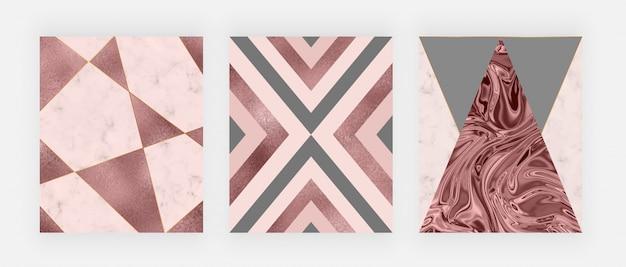 분홍색과 회색 삼각형, 장미 금박 질감, 다각형 라인이있는 대리석 기하학적 디자인. 프리미엄 벡터