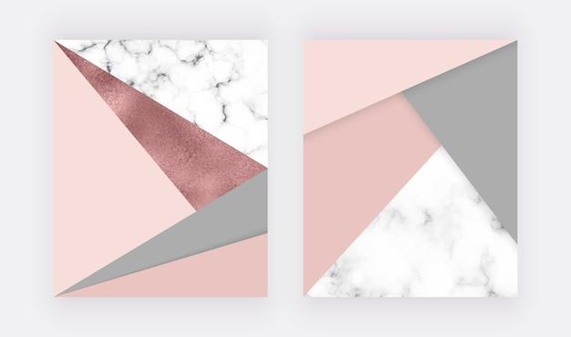 분홍색과 회색 삼각형, 로즈 골드 호일 텍스처가있는 대리석 기하학적 디자인. 프리미엄 벡터