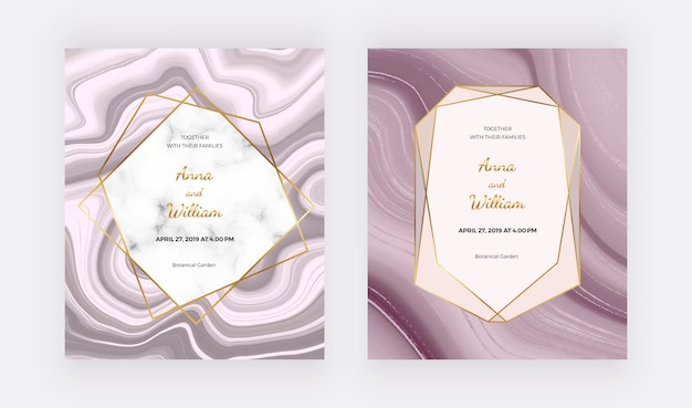 Marble geometric design with pink and grey triangular, rose gold foil texture. Premium Vector