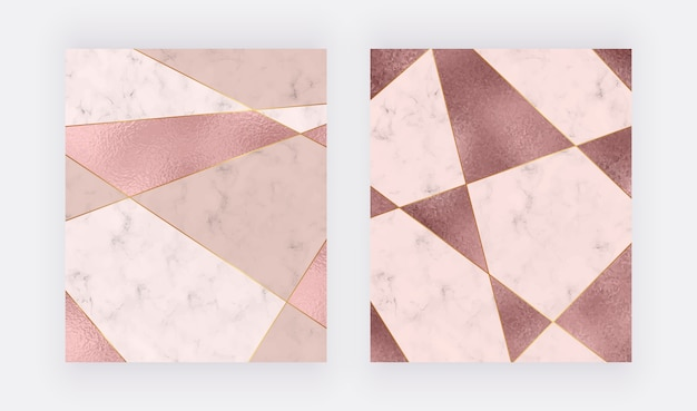 Marble geometric design with pink and rose gold triangular foil texture, golden polygonal lines. Premium Vector