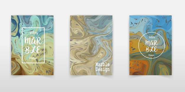 Marble pattern card background.creative trendy cards set. wavy stripes, glitch texture. Premium Vector