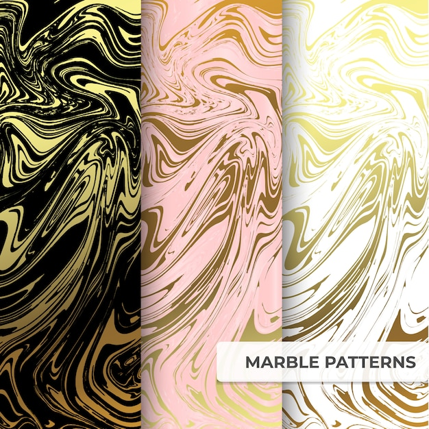 Marble patterns collection template Premium Vector