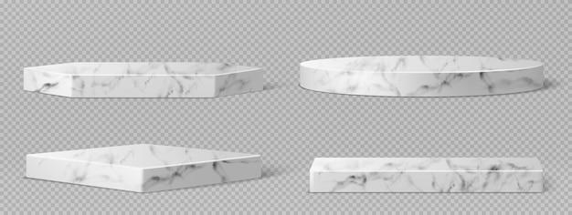 Мраморные пьедесталы или подиумы, абстрактные геометрические пустые музейные сцены, каменные экспонаты для церемонии награждения или презентации продукта Бесплатные векторы