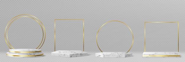 Мраморные пьедесталы или подиумы с золотыми рамками и декором, круглые и квадратные границы на геометрических пустых сценах, каменные выставочные витрины для презентации продукта, галерейные платформы реалистичный набор векторных трехмерных изображений Бесплатные векторы