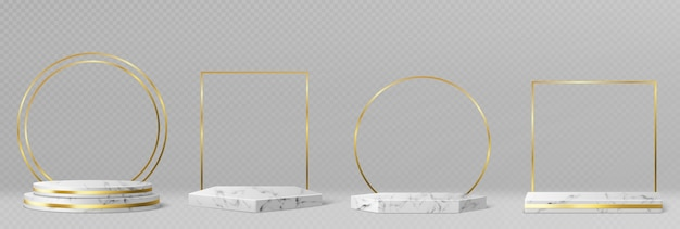 Marble pedestals or podiums with golden frames and decor, round and square borders on geometric empty stages, stone exhibit displays for product presentation, gallery platforms realistic 3d vector set Free Vector