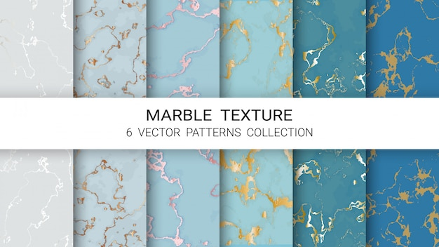 Marble texture pattern collection Premium Vector