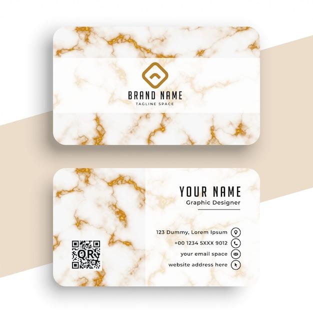 大理石のテクスチャホワイトとゴールドのビジネスカード 無料ベクター