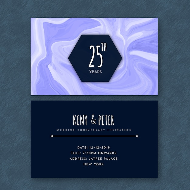 Marble textured 25th wedding anniversary cards Free Vector