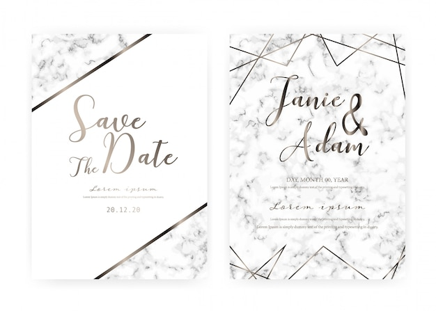Marble wedding invitation card template, save the date wedding card, modern card design with marble texture Premium Vector