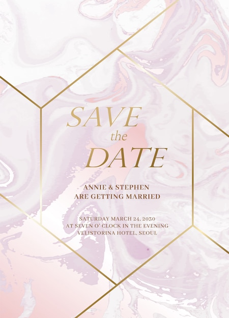 Marble wedding invitation cards set. luxury wedding invite cards with golden marble texture and gold border design vector design template Premium Vector