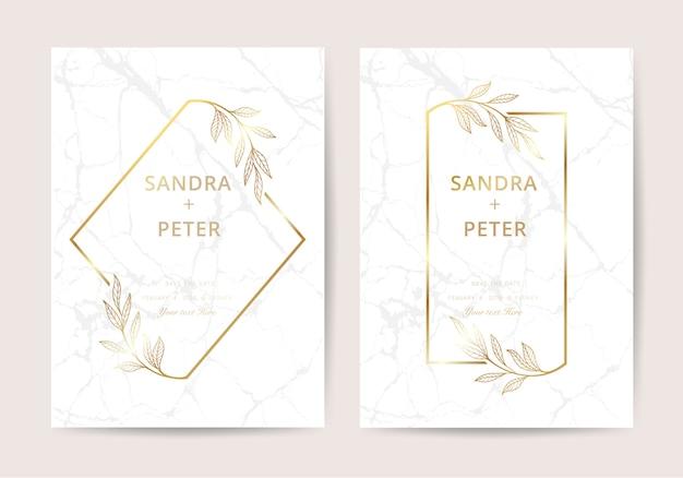 豪華なスタイルの大理石の結婚式招待状 Premiumベクター