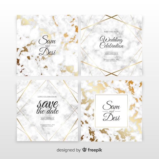 Marble wedding invitation set Free Vector