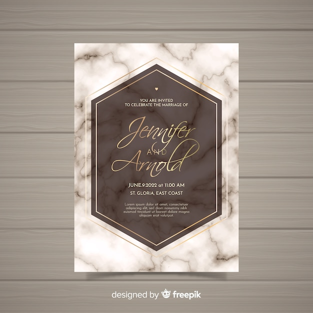 Marble Wedding Invitation Template Vector