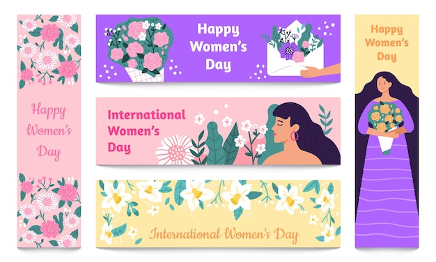 March 8 banners. international womens day, happy woman with flowers banner set. Premium Vector