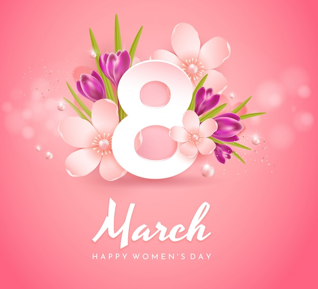 March 8. greetings Premium Vector