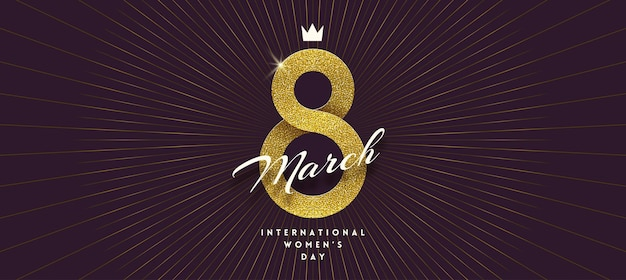 March 8 - international women's day greeting card. golden ribbon in the shape of sign eight. Premium Vector