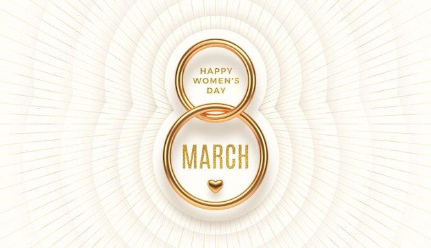 March 8 - international women's day greeting. realistic gold number eight and glitter gold greeting Premium Vector