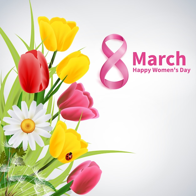 March 8th, happy women day greeting card Free Vector