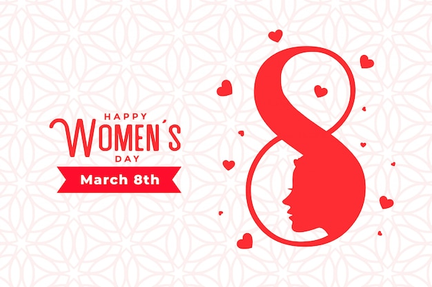 March 8th happy womens day stylish greeting card Free Vector