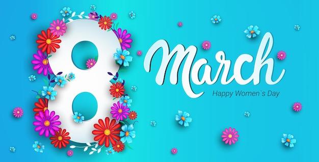 8 марта женский день баннер с цветами Premium векторы