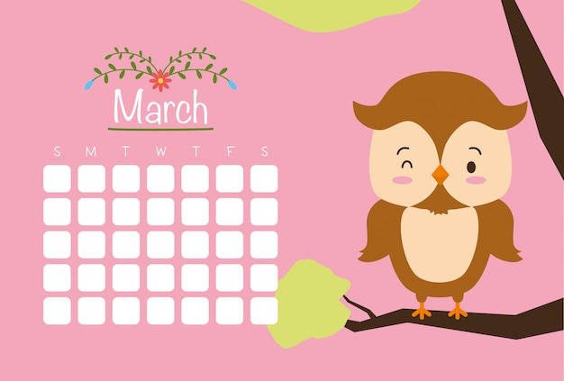 March calendar with cute owl, pink, flat style Free Vector