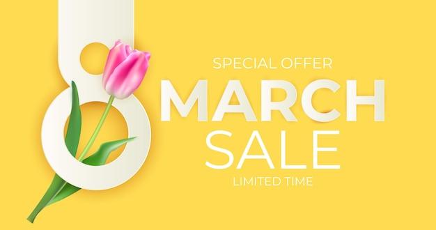 Мартовская распродажа баннер фон Premium векторы