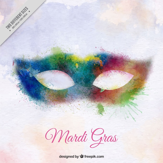 Mardi Gras Background With Watercolor Mask Free Vector